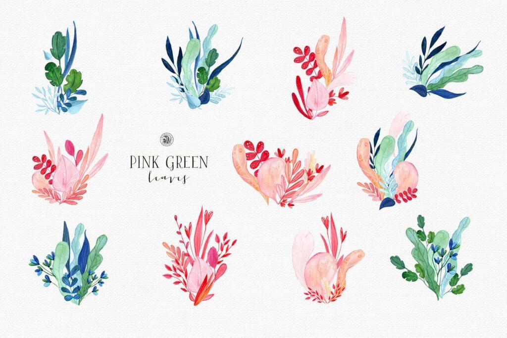 粉红色叶子水彩花卉装饰图案花纹Pink Green Leaves插图(7)