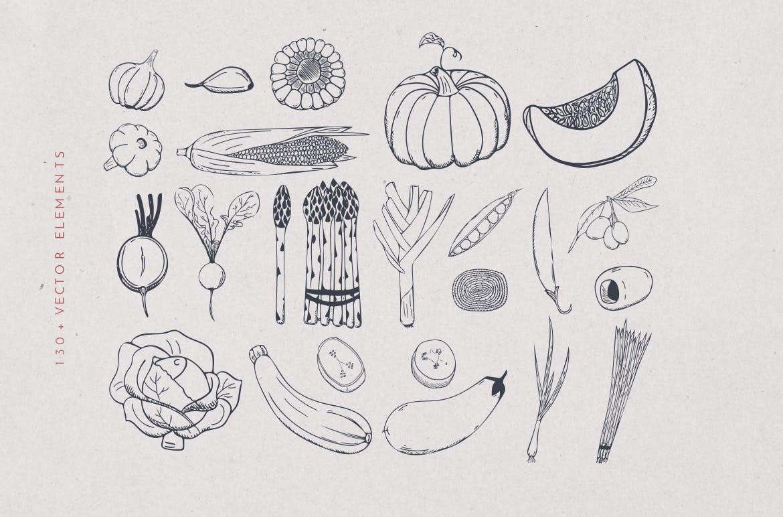 美食餐饮品牌宣传手绘矢量图案素材Ratatouille Sketched插图(7)
