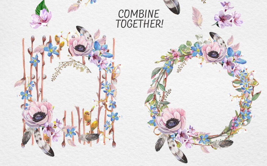 手绘水彩花环装饰图案纹理下载Spring bloom set 80 PNG插图(7)