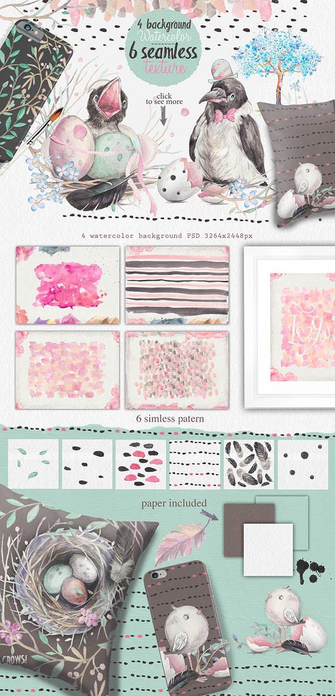 春天与乌鸦艺术创作作品集图案纹理素材下载Spring crows bundle插图(7)