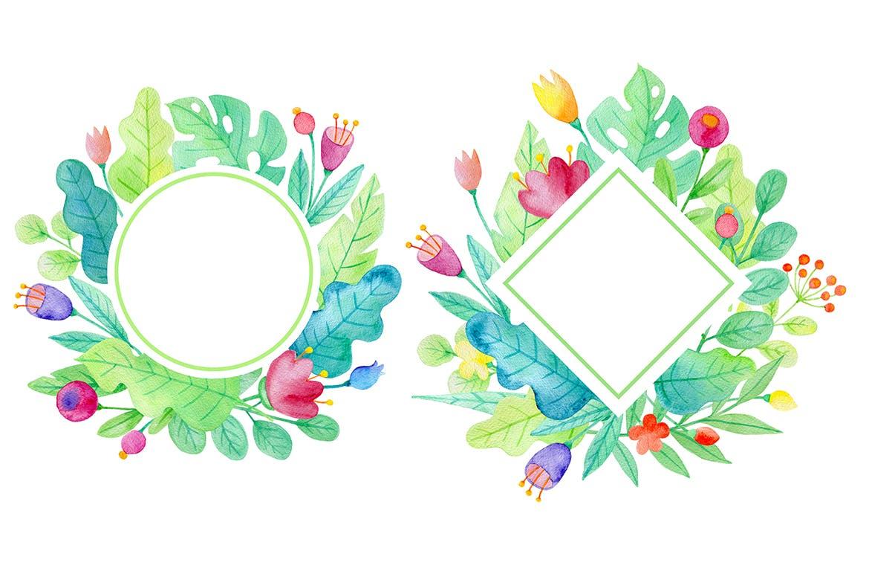 手绘水彩花卉图形元素装饰图案纹理花纹素材Summer Garden Watercolor Design Kit插图(7)