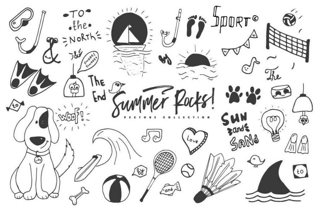 夏季主题元素装饰图案纹理下载Summer Rocks! Vectors Collection插图(7)