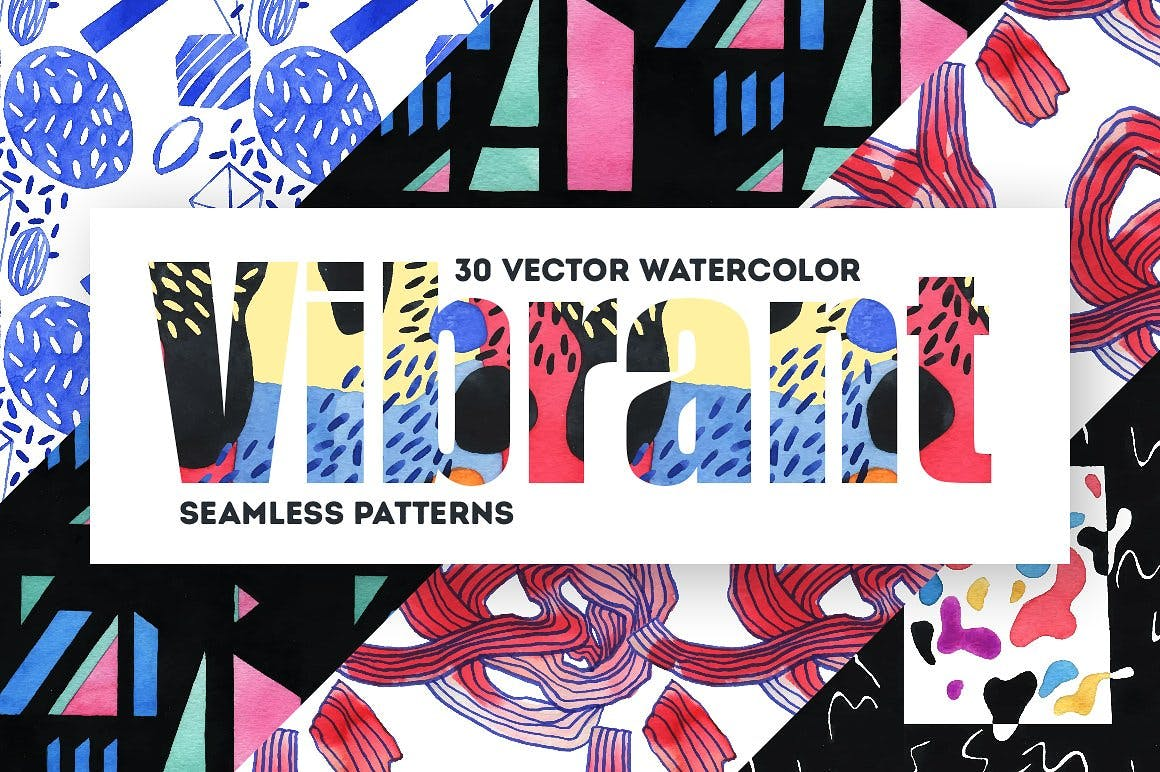 几何纹理水彩装饰图案纹理下载Vibrant Watercolor Patterns插图(7)
