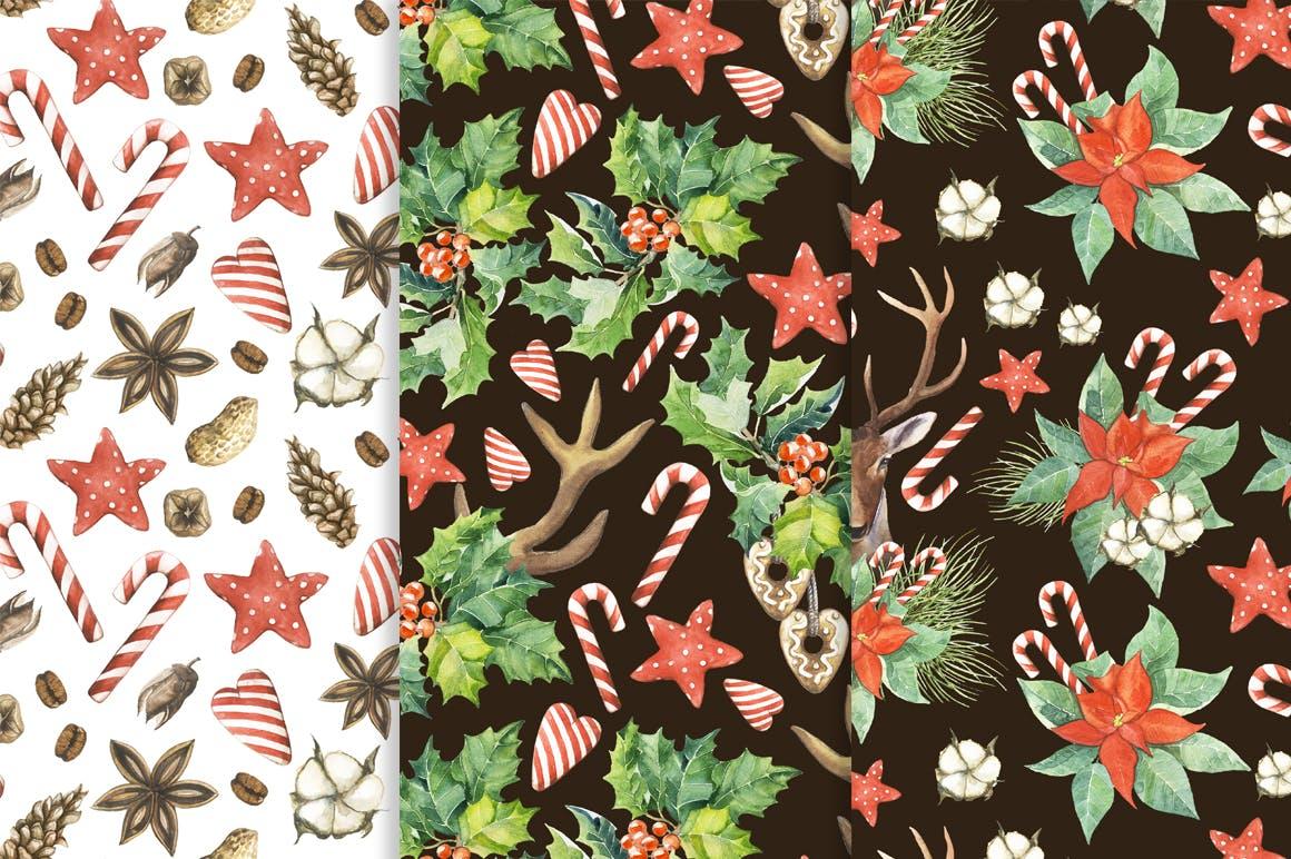 松果/松枝/鹿角森林系列手绘图案纹理元素下载Watercolor Christmas Magic Patterns插图(7)