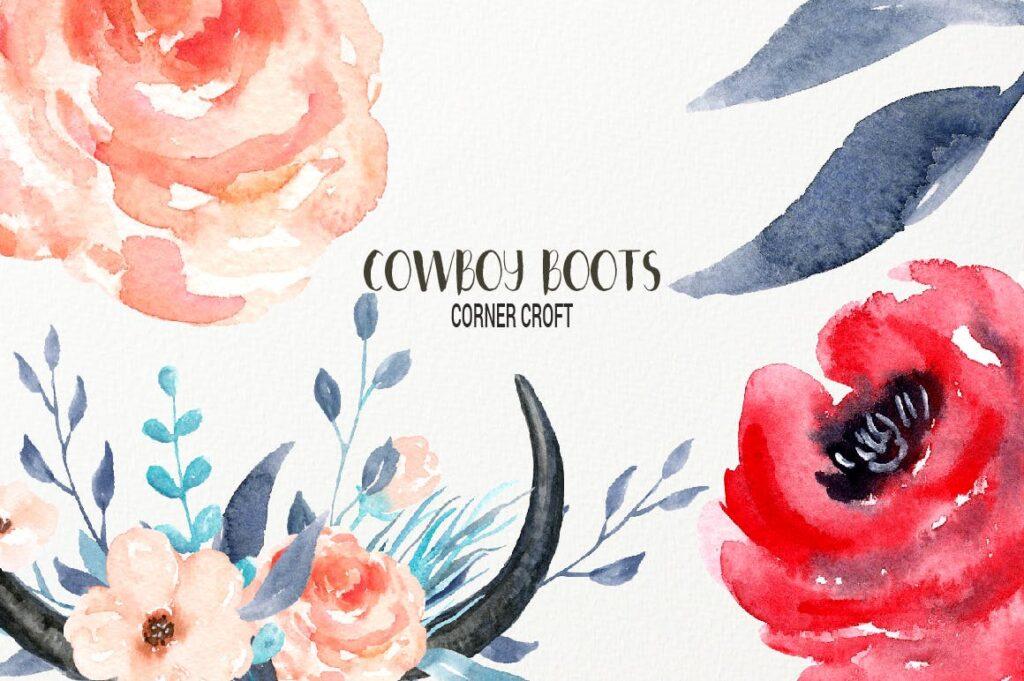 原始部落创意图案波西米亚插图创意图案Watercolor Cowboy Boots And Accessory collection插图(7)