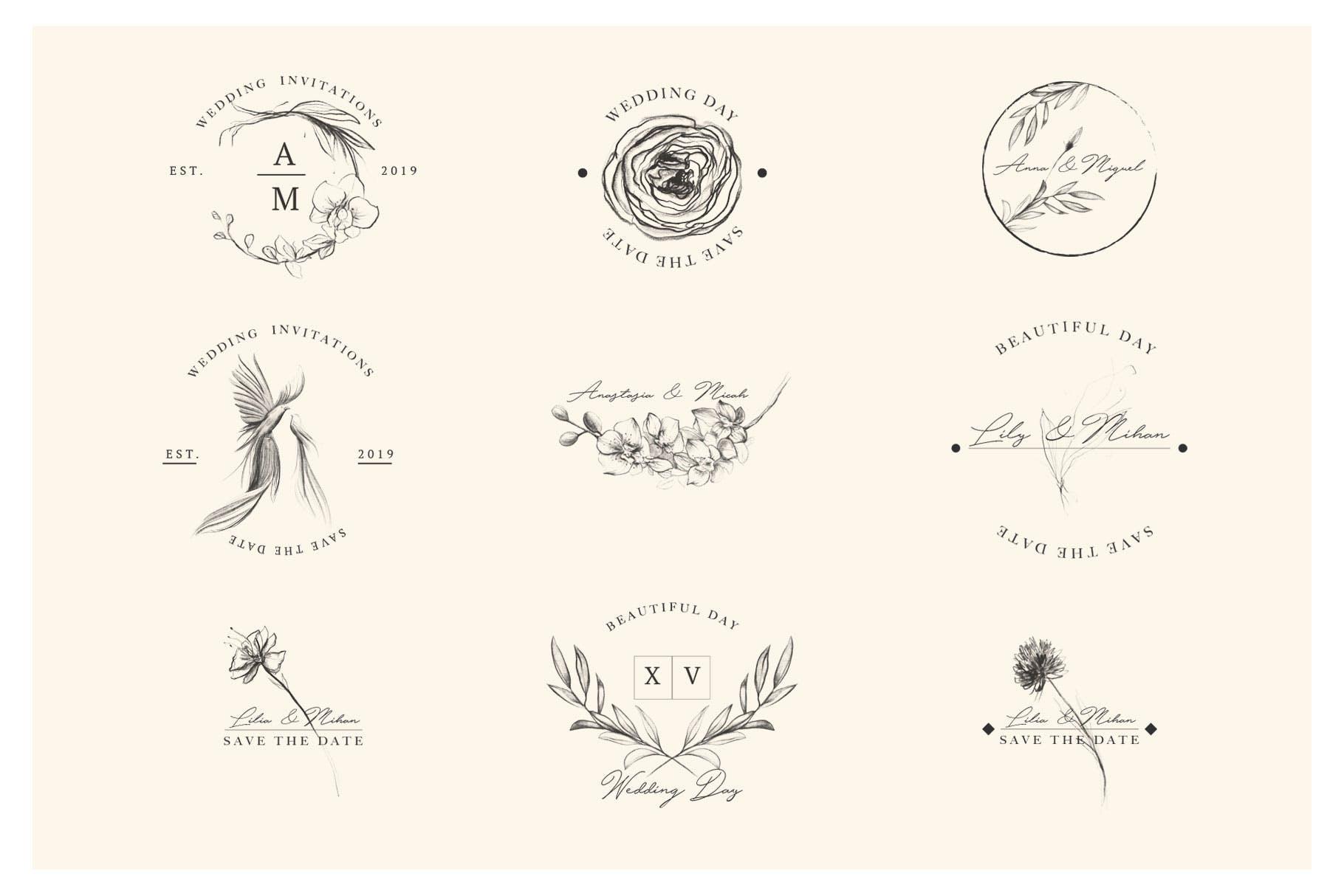 优秀的石墨仿铅笔图形组图案花纹素材Wedding Graphic Logo Pencil Flower插图(6)