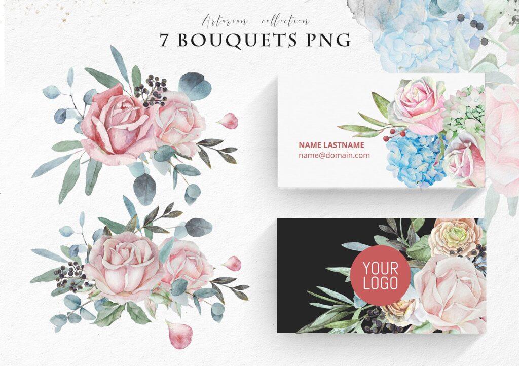 婚礼玫瑰花束创意图案合集邀请函相框装饰图案Wedding roses bouquets Artarian vol22插图(5)