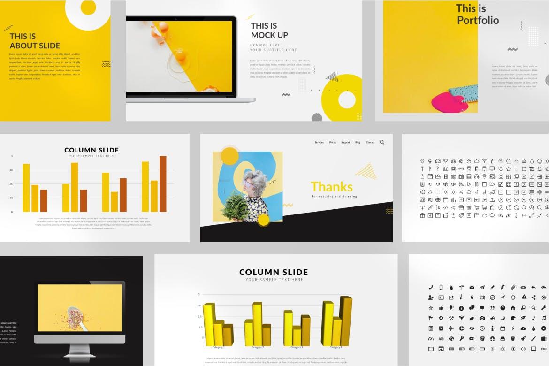 欧美风素材模板演示文稿模板Yellow Creative Keynote插图(5)