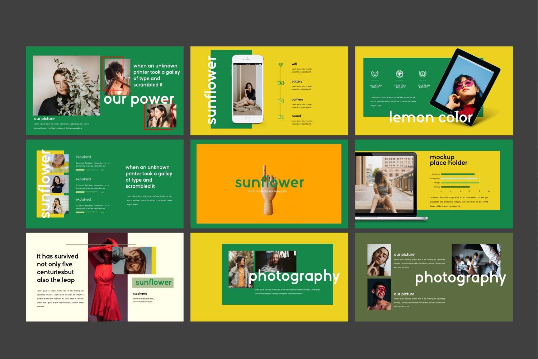 创意版式对比色风格多用途PPT幻灯片模板sunflowers keynote插图(7)