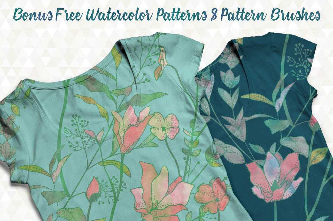 绿色植物与草药轮廓矢量图案31 Floral Patterns Pack插图(8)