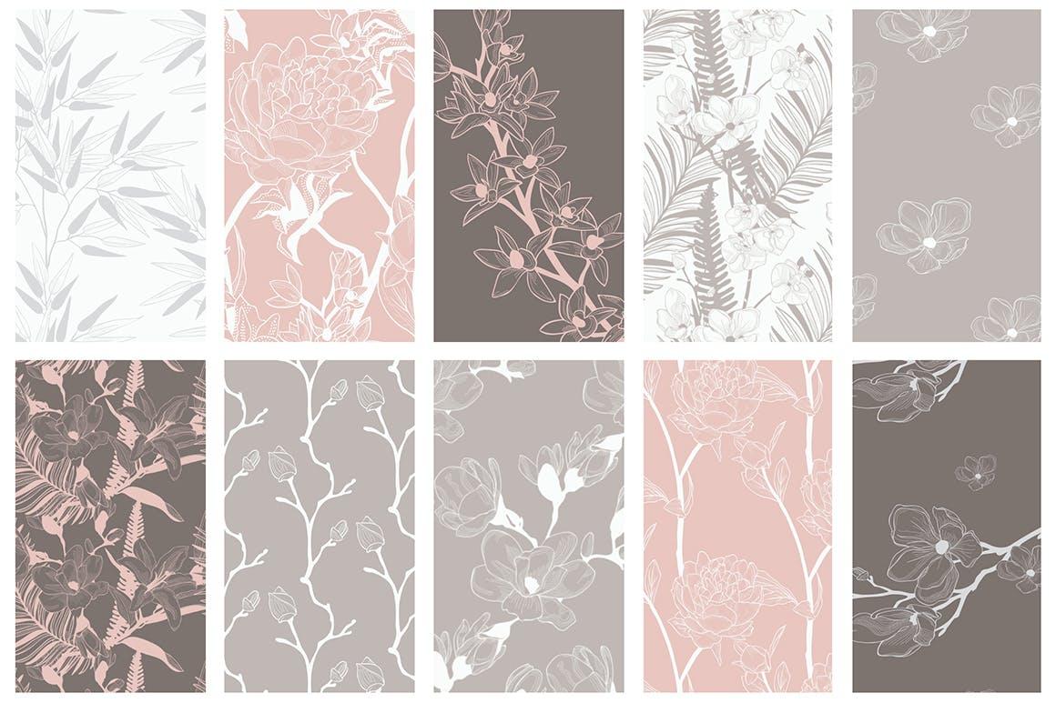 35个植物矢量图案装饰展示效果35 Patterns 8 Instagram Templates插图(7)