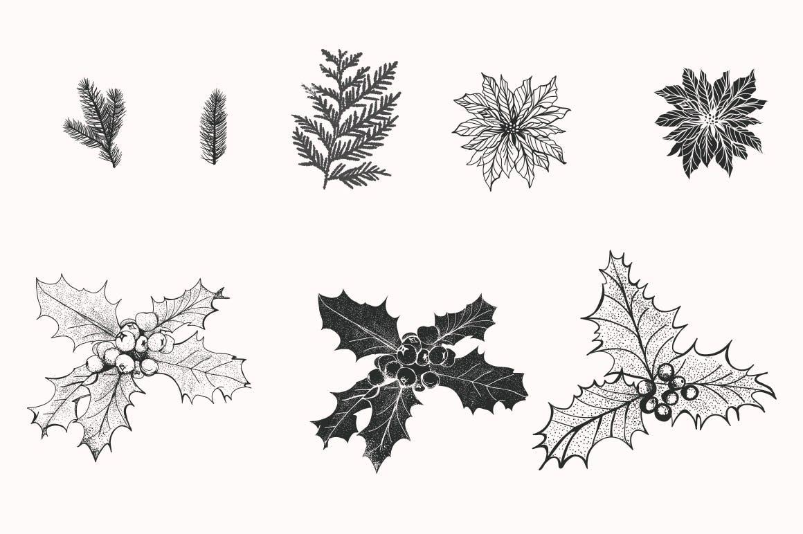 松树/刺柏/落叶创意图案装饰模板下载44 Winter patterns set插图(7)