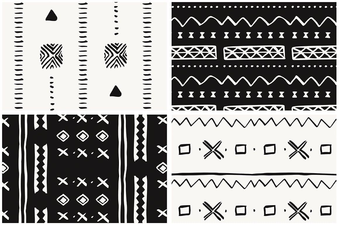 20个美丽的非洲泥布矢量图案集合装饰图案花纹插图(8)