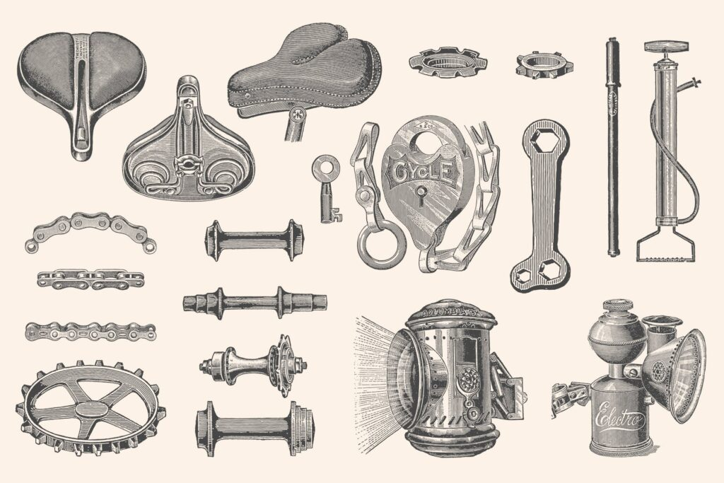 自行车和自行车配件的经典插图合Bicycles Vintage Illustration Set插图(8)