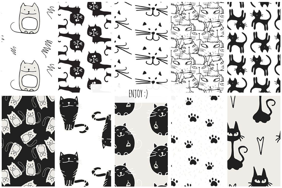 40个矢量猫图案素材展示效果Cats Patterns Set of 40插图(7)