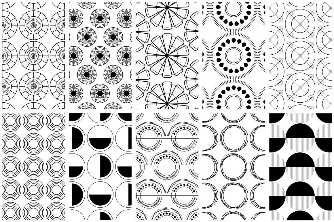 全新优雅的40个圆形无缝矢量图案食品包装装饰图案Circular Patterns Set插图(8)