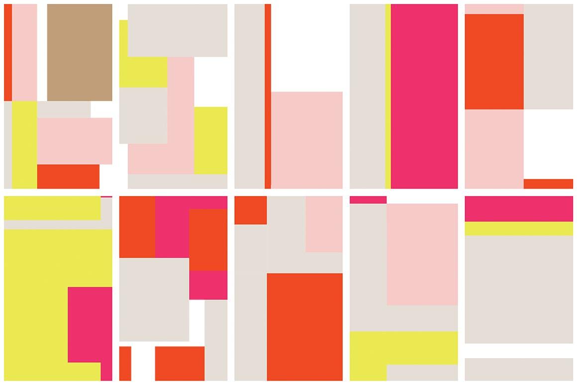 几何饱满色彩图形组合无缝图案组合Color Blocking Patterns插图(8)