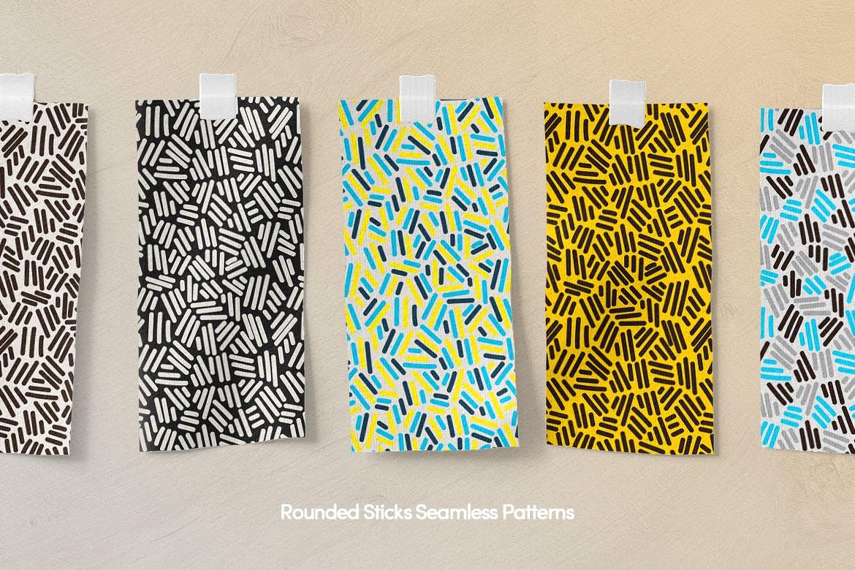 孟菲斯多色艺术几何元素矢量图案下载Colorful Chaotic Rounded Shapes Seamless Patterns插图(8)