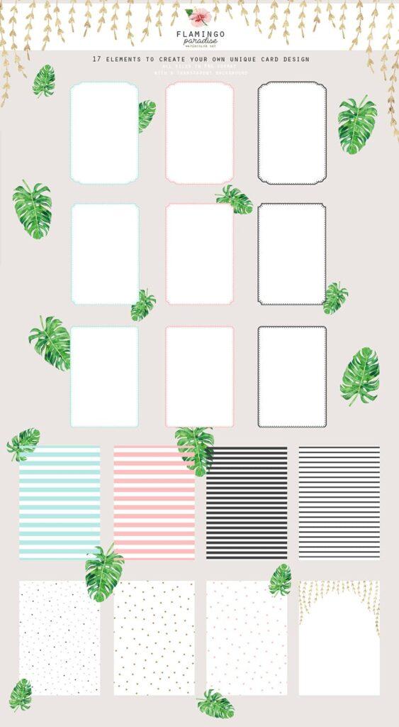 火烈鸟热带树叶和花朵主题装饰元素纹理花纹装饰图案FLAMINGO PARADISE watercolor set插图(8)