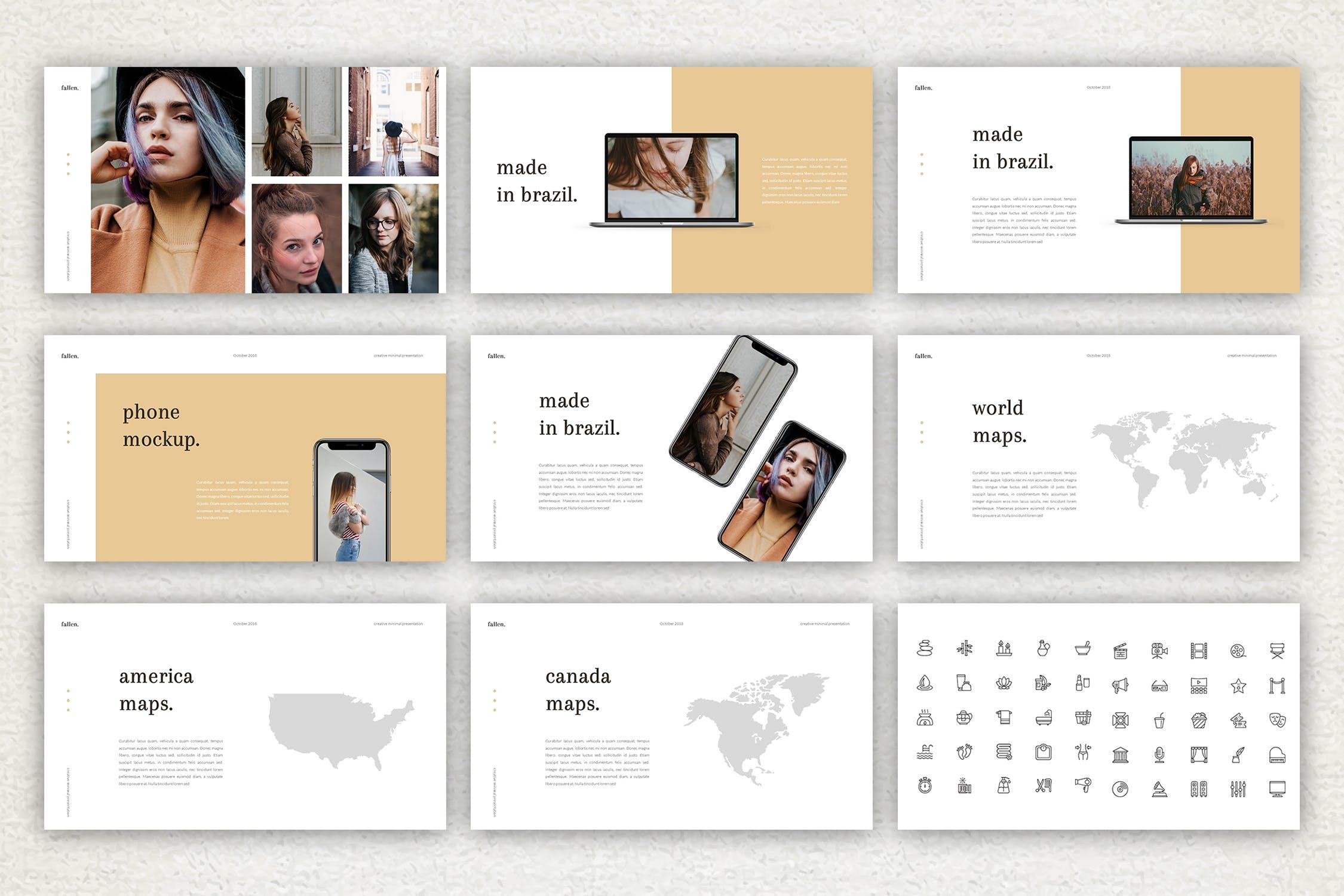 优雅简洁版式多用途活动展示和营销PPT幻灯片模板下载Fallen Keynote Template插图(8)