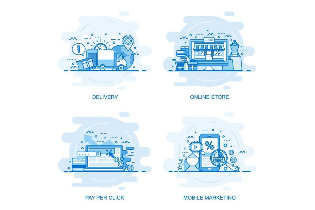 40个商业场景描边风风格插画Flat Line Color Concepts插图(8)