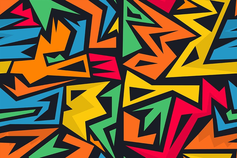 街头艺术创意纹理材质装饰元素Graffiti Maze Seamless Patterns插图(7)