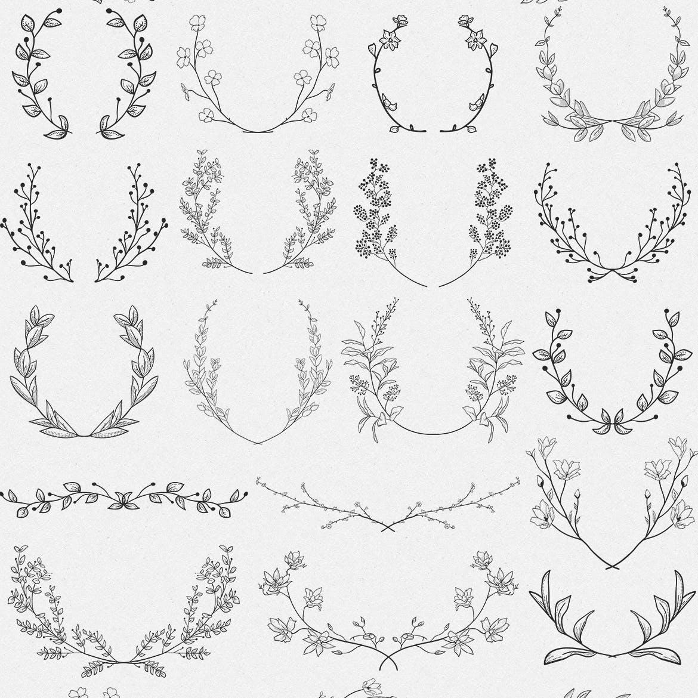 手绘乡村花卉涂鸦设计元素Greenery Collection167 Elements插图(7)