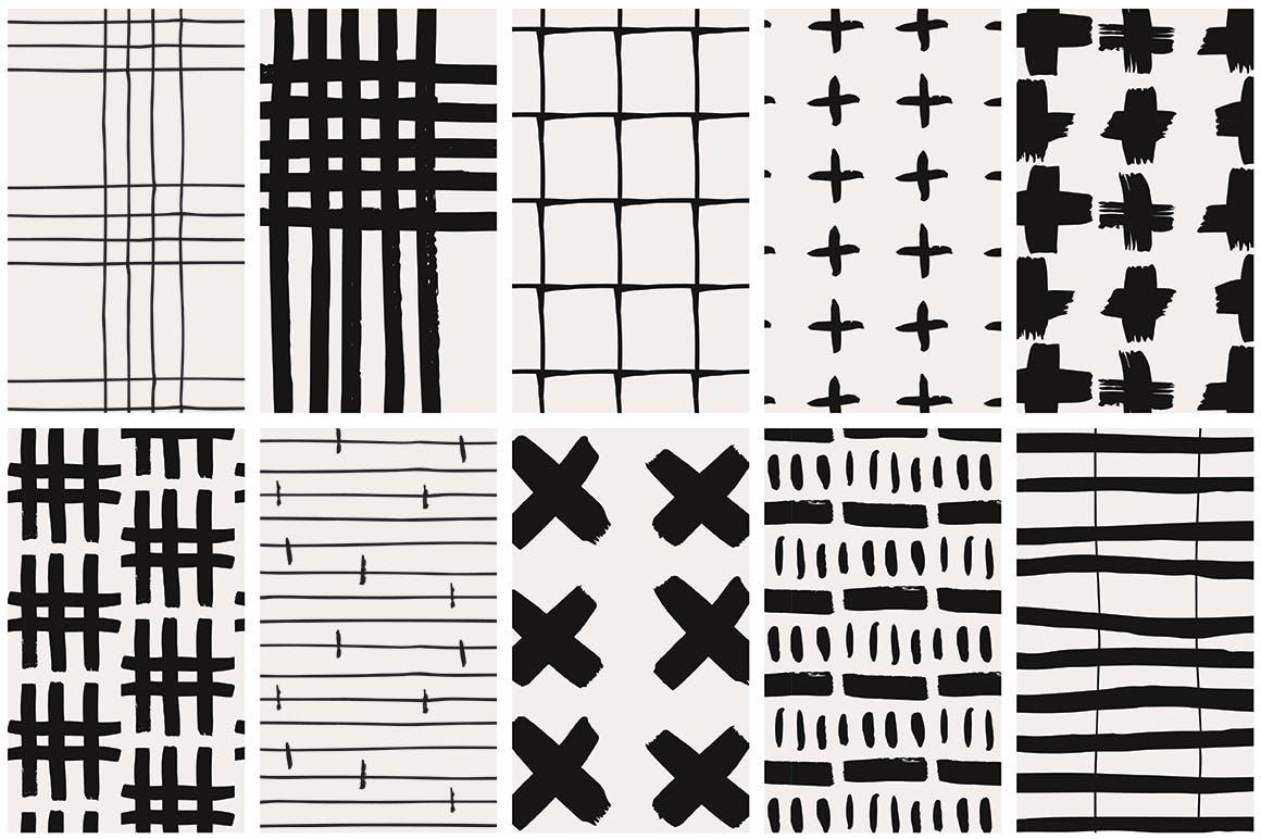 几何线条图案装饰纹理素材Handdrawn Lines Patterns插图(8)