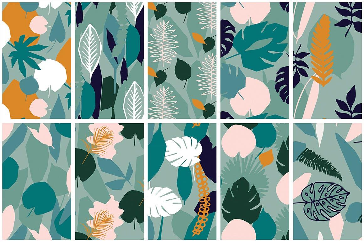 野外40个丛林元素矢量图案元素下载Jungle Patterns Collection插图(8)