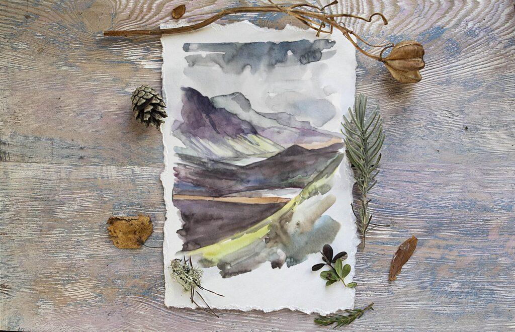 水彩画的风景与山脉/田野/河流Landscapes watercolor插图(8)