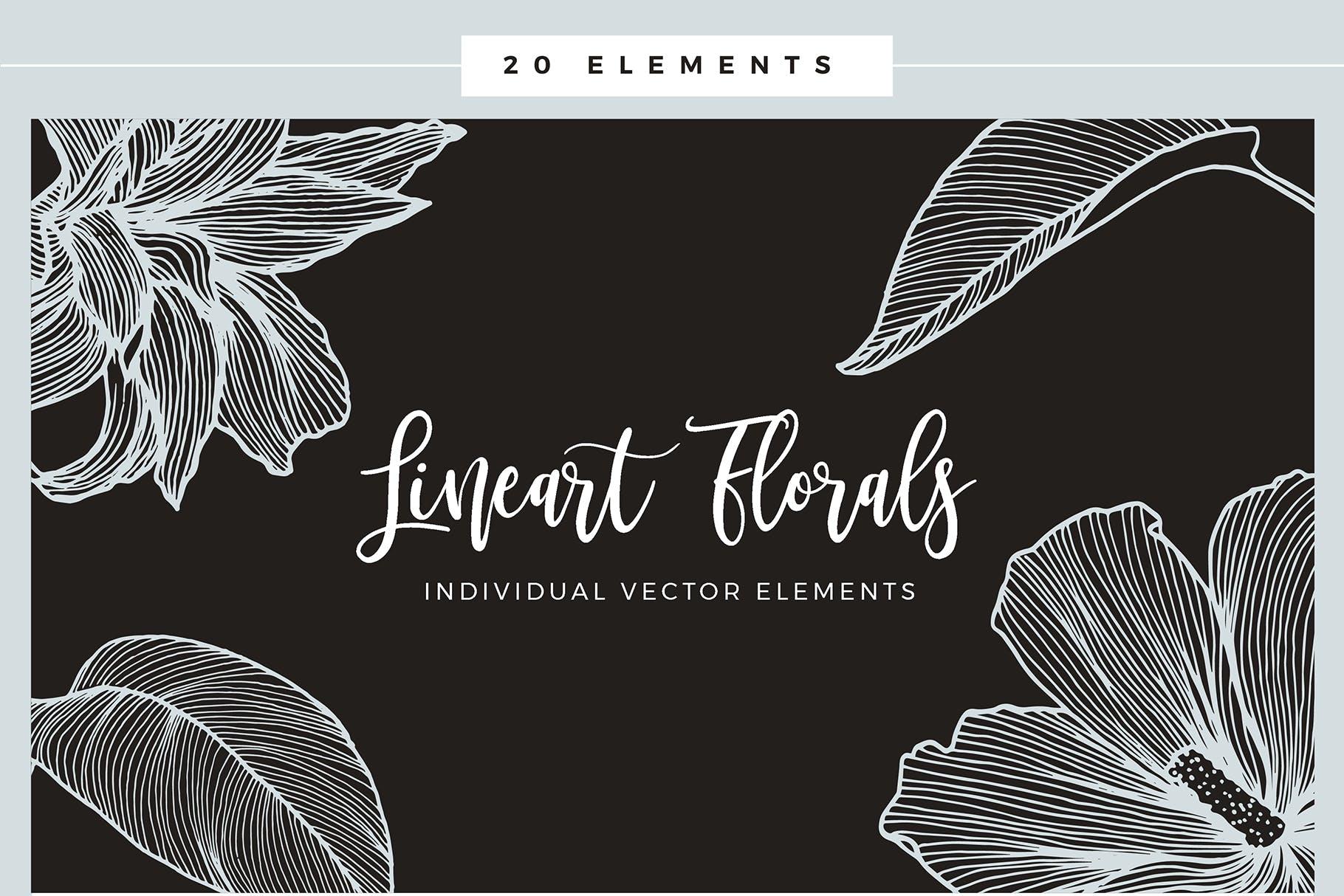 线条艺术花卉矢量图案元素Lineart Floral Patterns Elements插图(8)