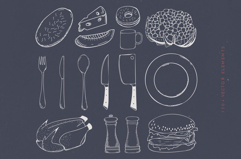 美食餐饮品牌宣传手绘矢量图案素材Ratatouille Sketched插图(8)