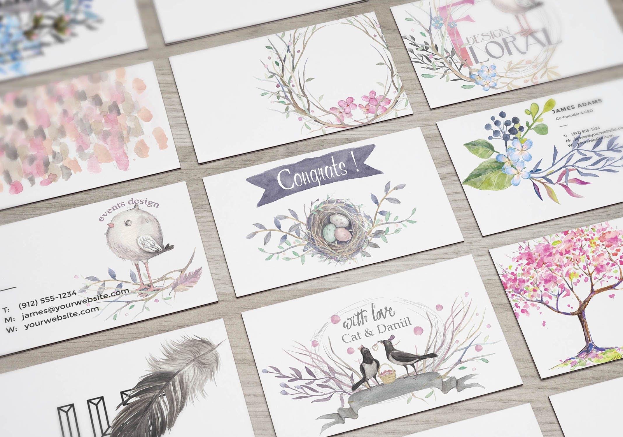 春天与乌鸦艺术创作作品集图案纹理素材下载Spring crows bundle插图(8)