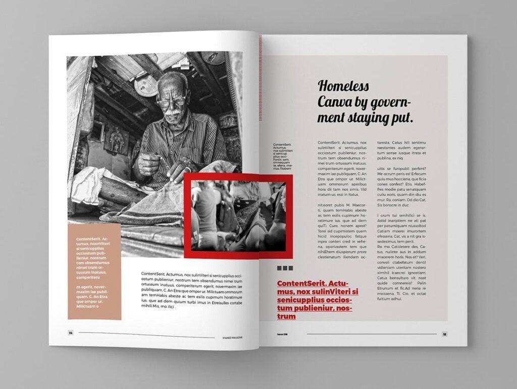 年代历史回忆录主题杂志模板素材Stained Magazine Template插图(6)
