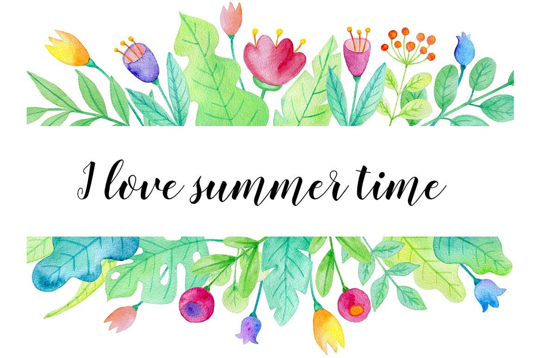 手绘水彩花卉图形元素装饰图案纹理花纹素材Summer Garden Watercolor Design Kit插图(8)