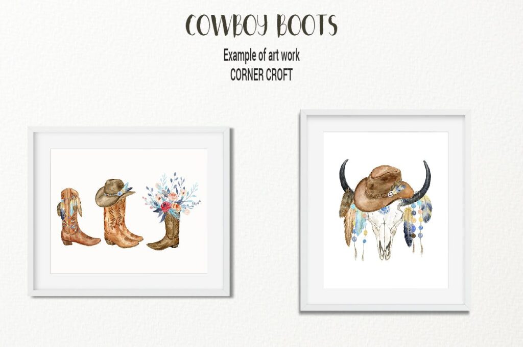 原始部落创意图案波西米亚插图创意图案Watercolor Cowboy Boots And Accessory collection插图(8)