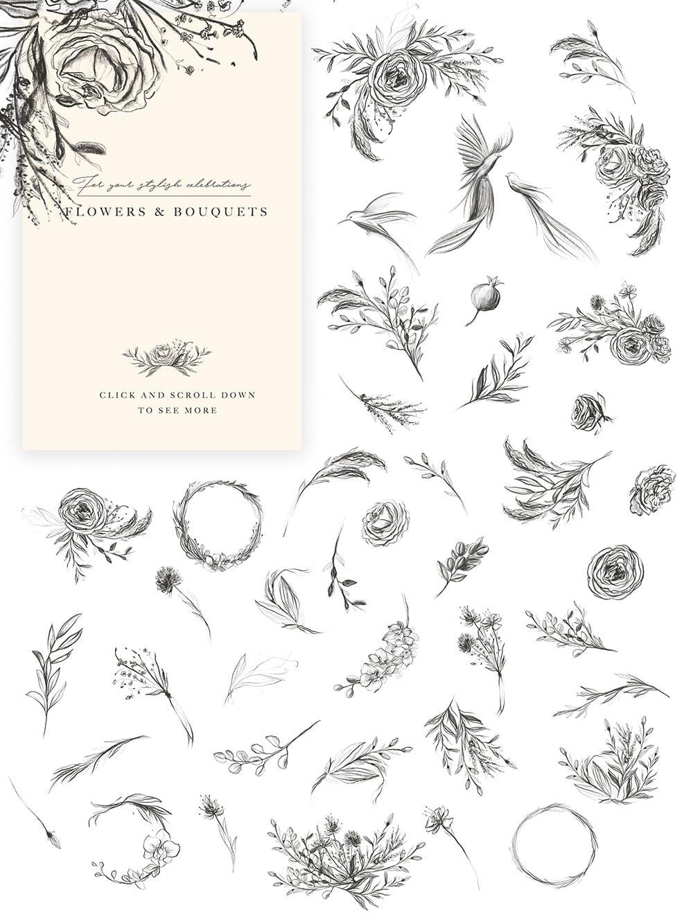 优秀的石墨仿铅笔图形组图案花纹素材Wedding Graphic Logo Pencil Flower插图(7)