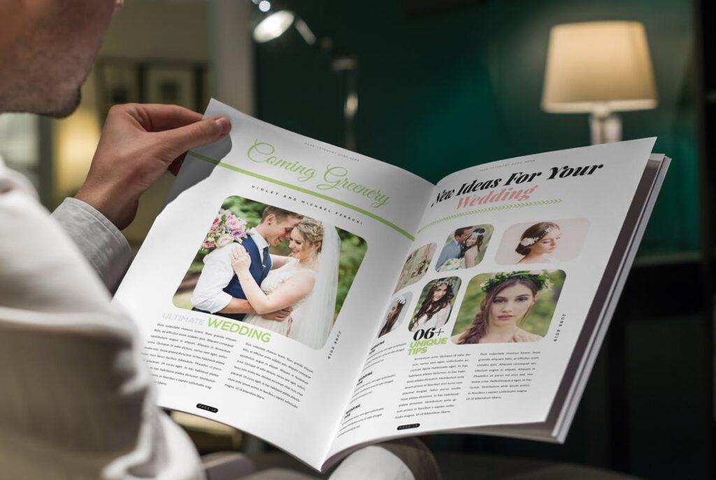 文艺精致版式环保主题婚礼杂志模板Wedding Magazine Template插图(7)