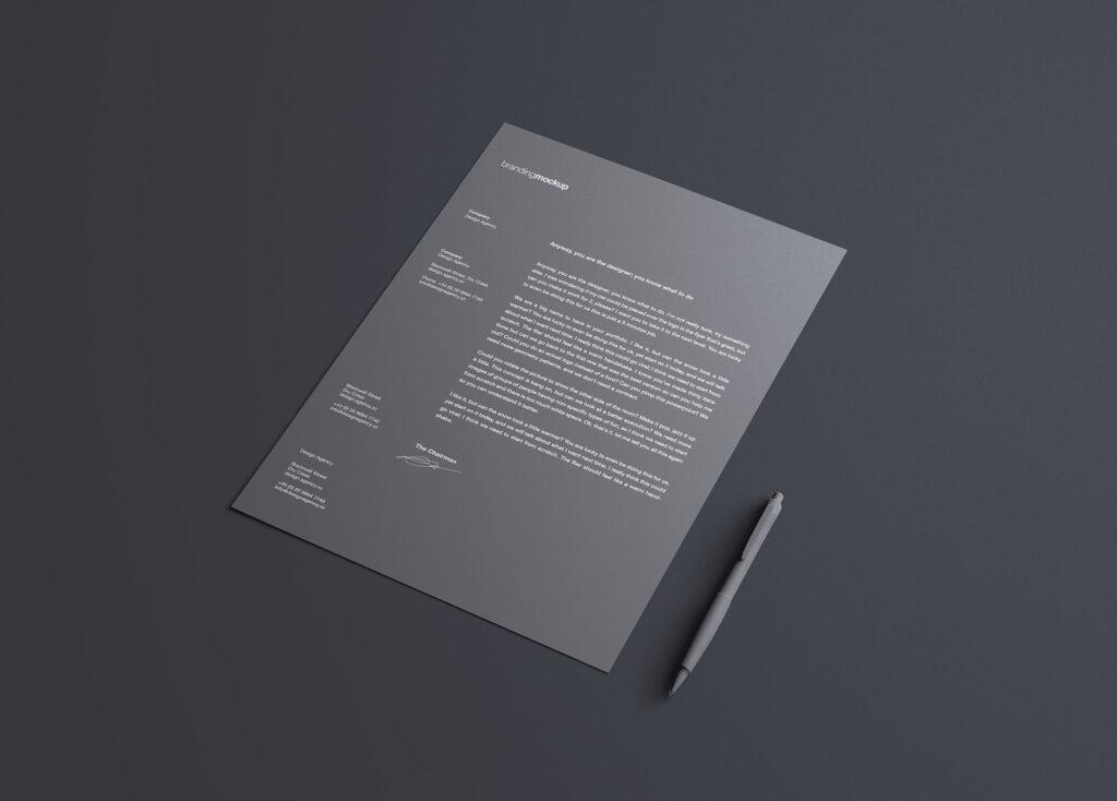 信头模型品牌宣传传单模板素材下载Simple Letterhead Mockup插图