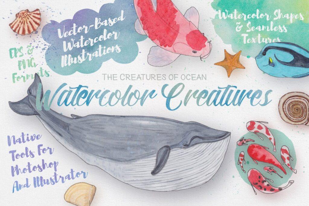 海洋生物系列主题创意图案装饰图案Watercolor Creatures vol 3插图