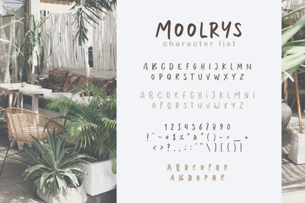 布艺服装品牌装饰图案字体/手绘涂鸦字体Moolrys插图(4)