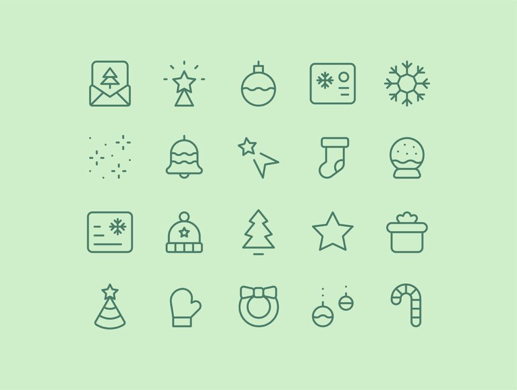 20个圣诞节线性图标源文件下载20 Christmas New Year line icons插图(2)