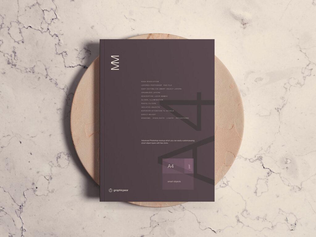 时尚的A4杂志封面样机A4 Magazine Cover Mockup插图