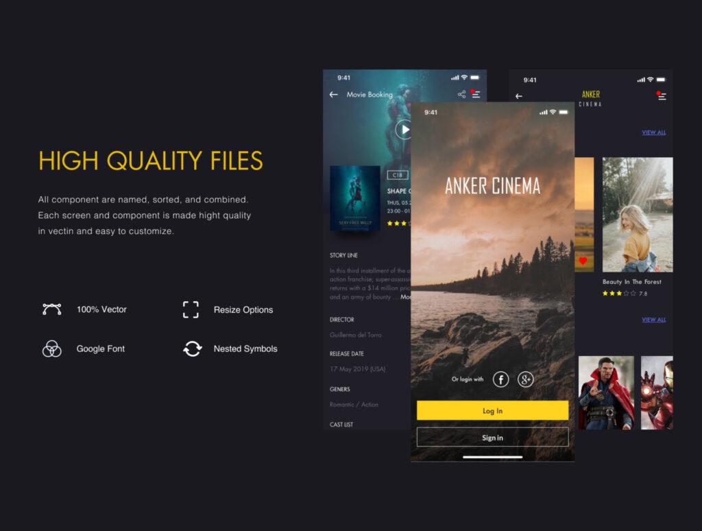 订票助手主题概念UI界面素材设计套件ANKER Cinema ticket booking app UI kits插图(4)