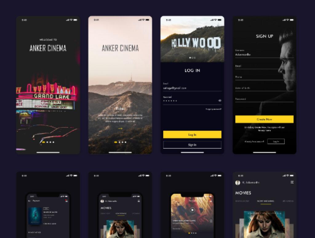 订票助手主题概念UI界面素材设计套件ANKER Cinema ticket booking app UI kits插图(6)