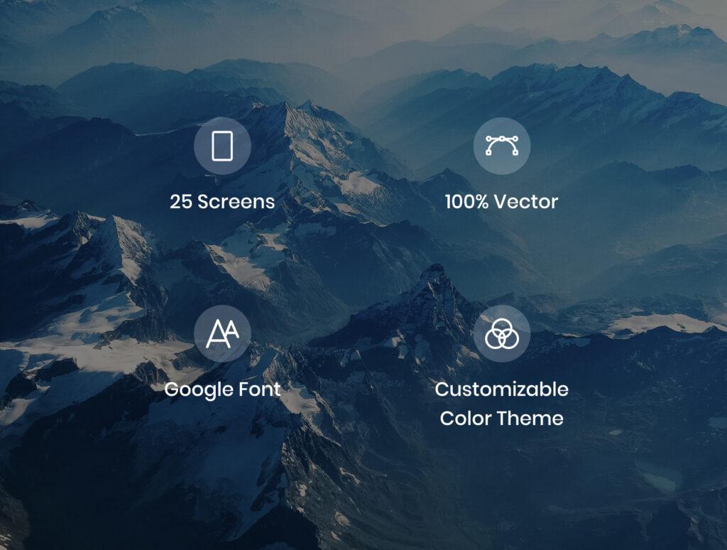 旅游主题概念UI界面/社交主题设计套件素材Anker Social UI Kit插图(2)