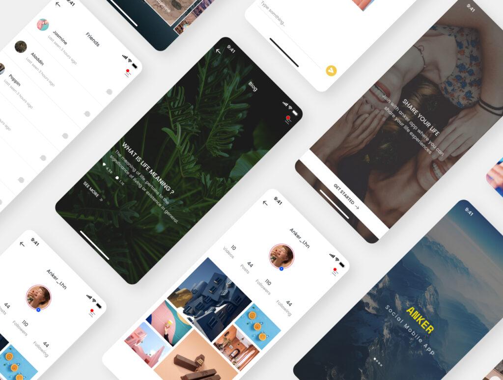 旅游主题概念UI界面/社交主题设计套件素材Anker Social UI Kit插图(5)