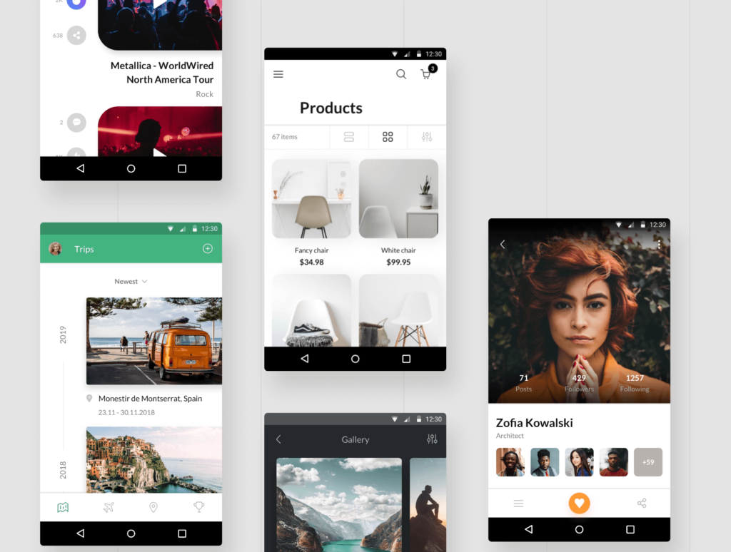 社交主题概念类UI界面设计套件素材Awesome Android UI Kit插图(1)