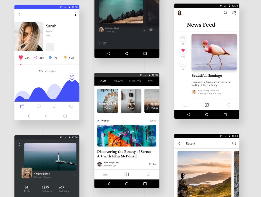 社交主题概念类UI界面设计套件素材Awesome Android UI Kit插图(3)