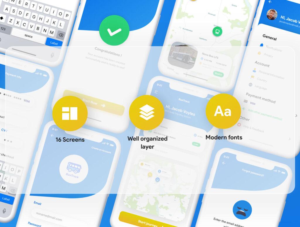 巴士出行类定位软件UI设计套件模型下载BusTracker app UI Kit插图(2)